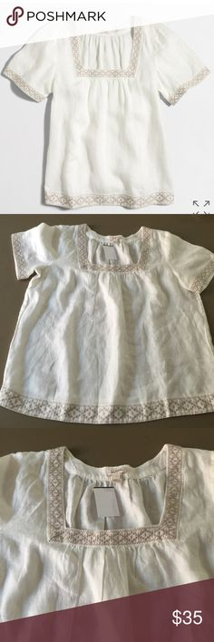 ❤️SOLD❤️Crew Embroidered Peasant Blouse Off white with beige embroidered. Shorts sleeves. 21 inches pit to pit. Length 25 inches from shoulder to hem.100% linen J. Crew Tops Blouses