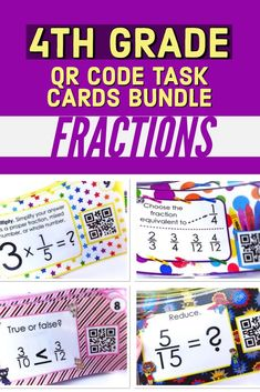 This bundle has your fraction practice covered! It's a set of ten 4th grade fractions QR code task card resources (240 cards in all) that touch on all of the 4th grade CCSS standards on fractions like equivalent fractions, adding subtraction fractions, comparing and ordering, multiplying fractions, reducing fractions, and more. #4thgradefractions #fractions #4thmath #qrcodetaskcards 4th Grade Fractions, Multiplying Fractions, Equivalent Fractions, 4th Grade Math, Ccss Standards, Ordering Fractions, Fraction Games, Math Concepts, Guided Math