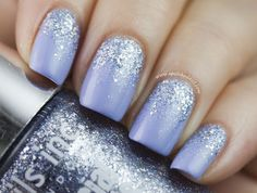 Nails Inc for Instyle Bluebell + Reverse Glitter Gradient | A Polish Addict nail-art