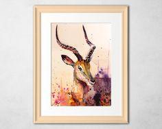 Antelope Watercolor PaintingHomeNurseryLiving by ArtwaveStudio #watercolors #paintign #antelopepainting #wildifeart #artforsale