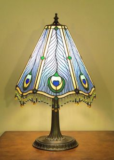 Stained Glass Table Lamp  Peacock by lizardkey on Etsy