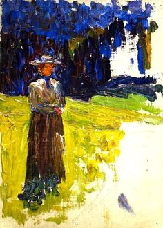 """Wassily Kandinsky - """"Kochel - Lady Standing by the Forest's Edge"""". 1902"""