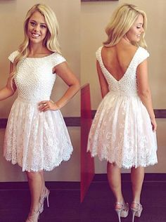 Cute Scoop Open Back Short White Homecoming Dresses with Pearl,Short Lace Prom Dresses