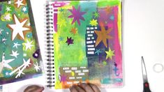 Art journal play inspired by Matisse's stars stencil from StencilGirl with a Marilyn Monroe quote