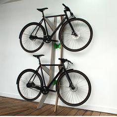 Furniture for Bikes: Sculptural Bike Storage - Design Milk Bike Storage Options, Bike Storage Design, Rack Design, Bicycle Storage, Indoor Bike Stand, Home Bike Rack, Standing Bike Rack, Casa Gaudi, Bicycle Hanger