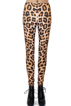 Yellow Leopard Print Stretch Footless Leggings