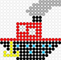 Kralenplank Stoomboot 3 Pearler Bead Patterns, Perler Patterns, Pearler Beads, Fuse Beads, Art For Kids, Crafts For Kids, Kindergarten Themes, Saint Nicolas, Melting Beads