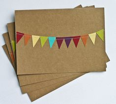 Thank You Cards Stationery 5x7 Bunting Flag Rainbow. $6.99, via Etsy.
