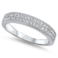 0.30 Carat Round Pave Double Row Clear Crystal Russian Ice Diamond CZ Solid 925 Sterling Silver Matching Wedding Engagement Band Ring