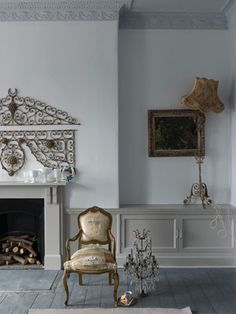 Walls: Farrow and Ball Wevet; Ceiling: Farrow and Ball Blackened; Woodwork: Farrow and Ball Purbeck Stone; Floor: Farrow and Ball Down Pipe Farrow Ball, Farrow And Ball Paint, Purbeck Stone, New Paint Colors, Wall Colors, Stiffkey Blue, Mad About The House, Furniture, Houses