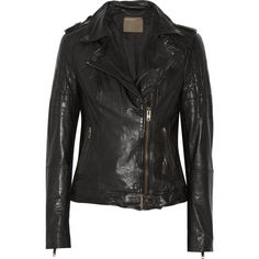 Muubaa Nido leather biker jacket ($313) ❤ liked on Polyvore featuring outerwear, jackets, black, padded motorcycle jacket, lined leather jacket, genuine leather jacket, moto jacket and black biker jacket