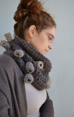 Fashion cowl scarf - crochet neckwarmer- abstract accessories in brown/ beige/grey, fall winter