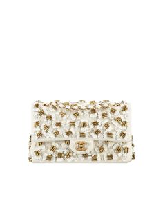 Flap bag, jersey, Lesage farfalle embroideries & bronze metal-ivory & gold - CHANEL