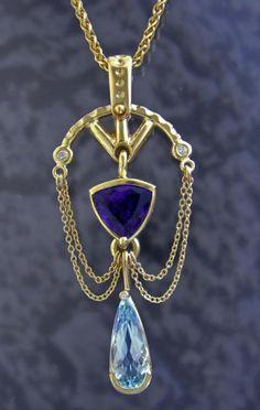 Custom Amethyst / Aquamarine Pendant Set in 14k Gold. Custom Design by Jeweler Eric Olson : Lot 2