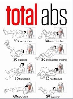Total abs exercises without machines. Knee crunches ,cross crunches , flutter kicks ,planks etc .