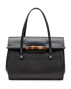 Gucci New Bullet Large Leather Top Handle Bag, Black