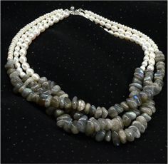 Labradorite and Freshwater Pearl Necklace by SunStones on Etsy, $64.00