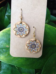 Mandala woodburned earrings, handmade, accented in acrylic  by UnderTheWillowStudio on Etsy