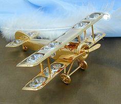 Flugzeug, mit Kristall (Glas), gold-plattiert, Propeller und Räder beweglich