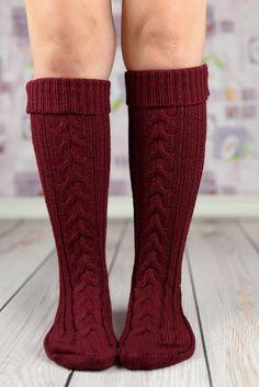 Maroon Heavy Winter Boot Socks