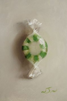 Original Oil Painting - Spearmint Candy - Miniature Still Life Art - Nelson