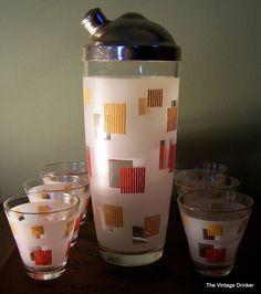 Antique Vintage Mid Century Glass Cocktail Shaker