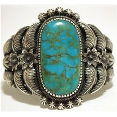 Old Pawn Navajo Mountain Turquoise Sterling Silver Cuff Bracelet - Kirk Smith
