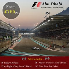 This November, Witness the fastest street circuit competition in #AbuDhabi  Reserve your seats and Experience the thrill LIVE. For more details call our #Holiday Experts on 0116 237 2535 http://bit.ly/FormulaOneAbuDhabi  #homeandawayholidays