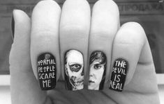 There is 0 tip to buy nail accessories, american horror story nails, halloween, halloween makeup. Help by posting a tip if you know where to get one of these clothes. American Horror Story, Hair And Nails, My Nails, Zombie Nails, Skull Nails, Nail Accessories, Evan Peters, Halloween Nail Art, How To Apply Makeup
