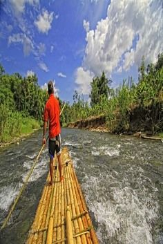 Experience bamboo rafting in Indonesia. For more info visit our awesome travel package on www.travel-rural.com