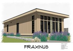 Fraxinus is a shed roof style modern small house plan featuring 800 square feet of single floor living space.