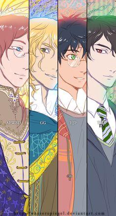 Albus Dumbledore/ Gellert Grindelwald/ Harry Potter/ Tom Riddle (Lord Voldemort) Wasserspiegel.deviantart.com