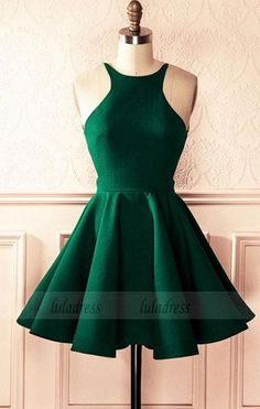 bc9534419c Emerald Green Satin A-line Halter Top Open Back Homecoming Dresses 2018  Short Prom Cocktail Dress