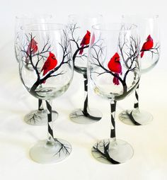 Cardinal Snowy Tree Branches Hand Painted Wine Glass Winter