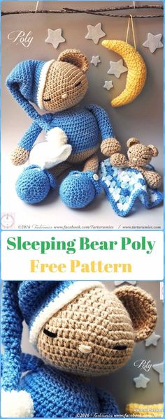 Amigurumi Sleeping Teddy Bear Polly Free Pattern - Amigurumi Crochet Teddy Bear Toys Free Patterns