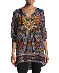 Nima Silk Printed Long Tunic, Black - Tolani