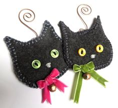 Items similar to Dark Gray Cat Ornament PERSONALIZED Ornament, Names dates 2 lines of text, Dark Gray Kitten Ornament, Upcycled Sweater Cat on Etsy Felt Christmas Decorations, Felt Christmas Ornaments, Fall Crafts, Holiday Crafts, Cat Christmas Tree, Xmas, Fabric Crafts, Sewing Crafts, Felt Cat