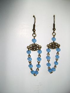 Baby Blue in Antique brass Chandelier Earrings by mwadsworth, $5.00