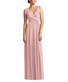 DescriptionJenny Yoo by Dessy Style JY517Fulllength bridesmaid dressVneck with soft drape ruffle at front and back necklineModified circle skirtNu-Georgette