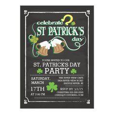 Chalkboard Celebrate St Patrick's Day Dinner Party Card