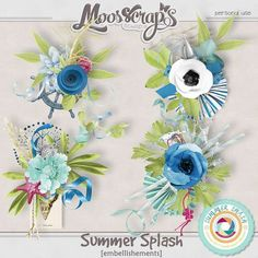 Description:  Here is an embellishements pack created with the collection Summer splash by Moosscrap's Designs.