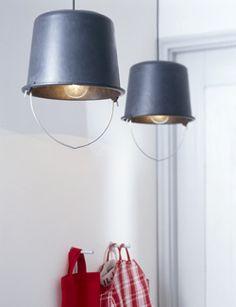 DIY Lamp made of a bucket #light - Lamp gemaakt van een emmer. Kijk op www.101woonideeen.nl