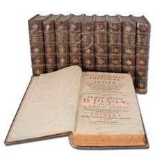 RAPHAEL BLUTEAU<br>Vocabulario portuguez e latino - Aulico, Anatomico, Architectonico, Bellico, Botanico.<br>Encadernação original com couro; 10 vol. 22 x 29 cm - I (A) 698 p - II (B-C) 870 p - III (D-E) 726 p - IV (F-G-H-I-J) 735 p - V (K-L-M-N) 778 p - VI (O-P) 839 p - VII (Q-R-S) 824 p - VIII (T-U-V-X-Y-Z) 652 p - Dic. castellano y portuguez 189 p - Sup. I (A-B-C-D-E-F-G-H-I-J-K-L) 568 p - Sup. II (M-N-O-P-Q-R-S-T-U-V-X-Y-Z) 592 p. Col. Artes da Cia. De Jesus I a IV - Coimbra Of. Pascoal…