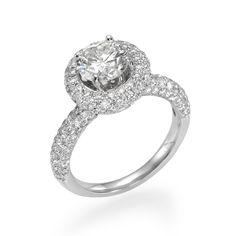 Round Brilliant Diamond with Diamond Halo Engagement Ring