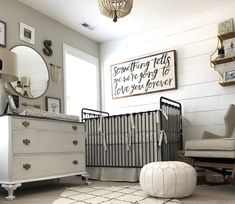 18 Nursery Trends for 2018 Project Nursery - Neutral Nursery with Framed Quote on Shiplap Wall White Nursery, Nursery Room, Girl Nursery, Elephant Nursery, Gray Neutral Nursery, Neutral Baby Rooms, Vintage Baby Boy Nursery, Nursery Mirror, Antique Nursery