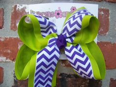 Large 2 Layer Lime Green Purple White Chevron by karenscreations1, $8.98