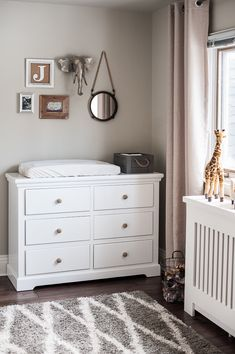 Revere Pewter by Ben M, wall color. Safari Decor in a Gender Neutral Nursery - Project Nursery