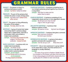 What are the basics of English grammar? English Grammar Rules, Grammar And Punctuation, Learn English Grammar, English Writing Skills, Teaching Grammar, Grammar Lessons, English Language Learning, Teaching Writing, English Words