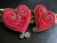 Felt and zipper hearts   Flickr - Photo Sharing!