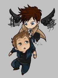 Supernatural: (chibi) Dean & Castiel I have this on my inb Supernatural Destiel, Dean And Castiel, Sam Dean, Supernatural Cartoon, Supernatural Drawings, Crowley, Bobby, Chibi, Atelier D Art